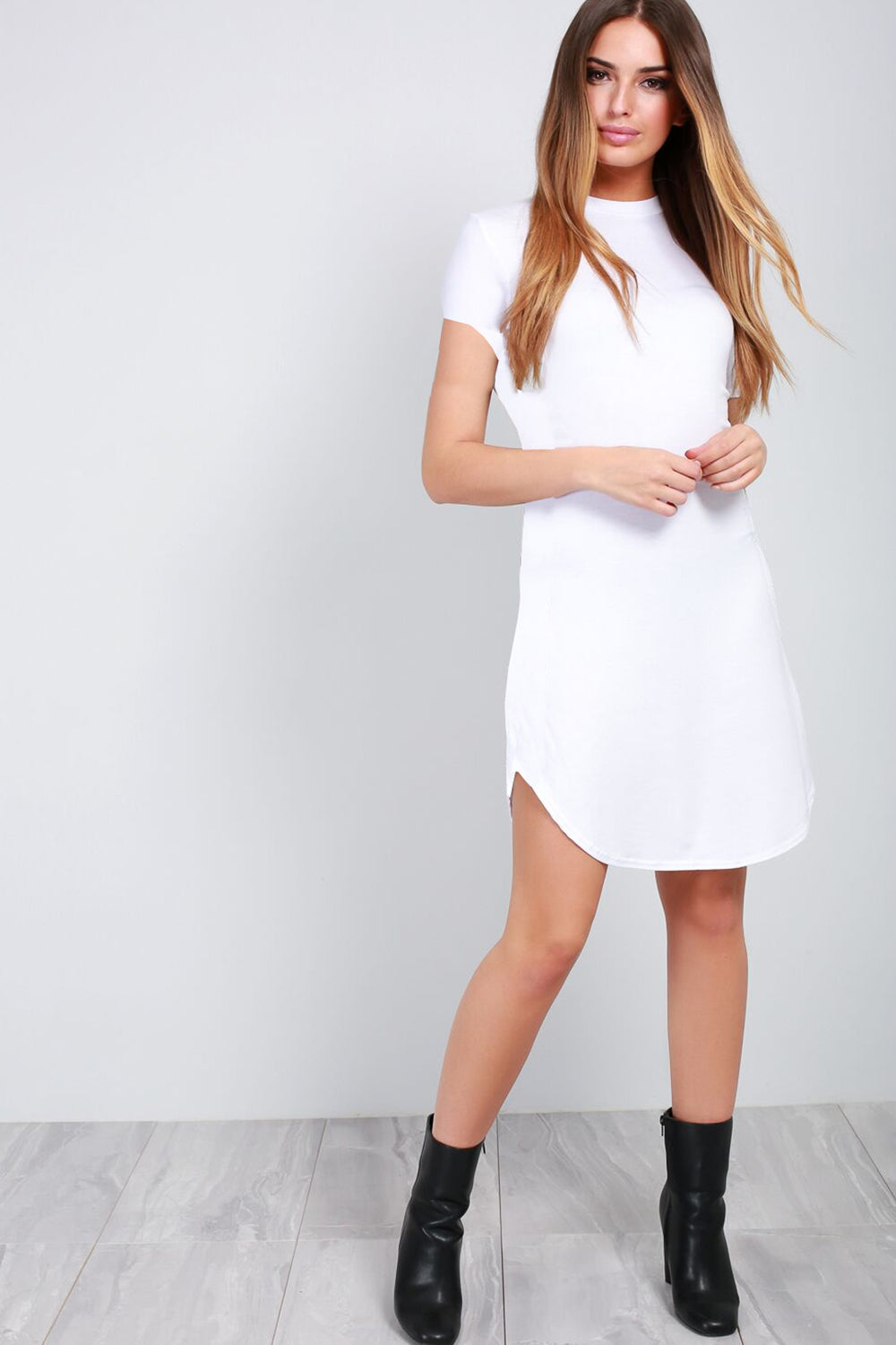 White Turn Up Sleeve Curved Hem Tshirt Dress - bejealous-com