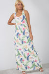 Floral White Slinky Maxi Dress With Pockets - bejealous-com