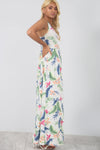 Floral White Slinky Maxi Dress With Pockets