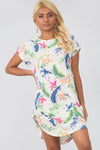 Cream Floral Curved Hem Baggy Tshirt Dress - bejealous-com