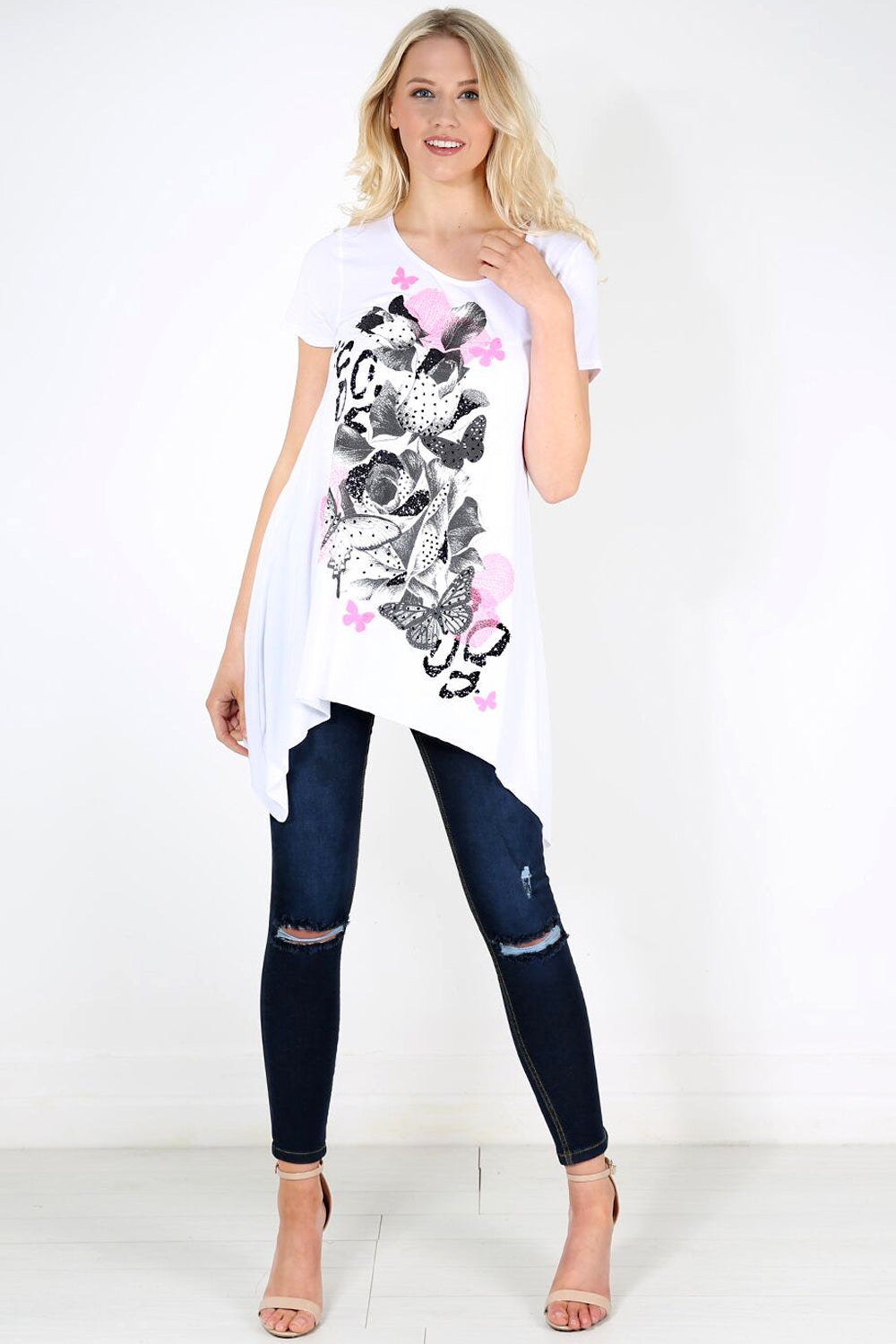 Dipped Hem Graphic Print Swing Tshirt