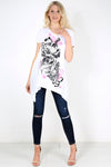 Dipped Hem Graphic Print Swing Tshirt - bejealous-com