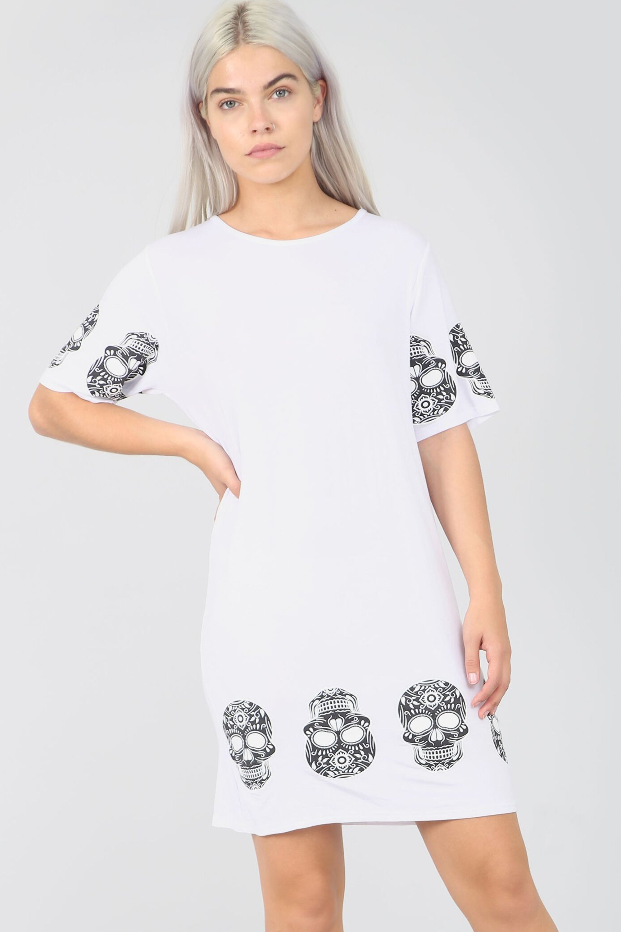 Skull Print Loose Fit Khaki Tshirt Dress - bejealous-com