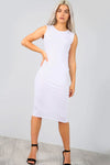 Sleeveless Basic Jersey White Bodycon Midi Dress - bejealous-com