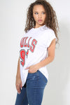 Bulls Slogan Print Turn Up Sleeve Baggy Tshirt - bejealous-com