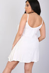 Strappy Basic Jersey White Mini Swing Dress - bejealous-com