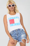 Super Chic Slogan Print Baggy Vest Top - bejealous-com
