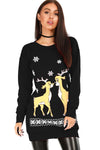 Long Sleeve Christmas Reindeer Jumper Dress - bejealous-com