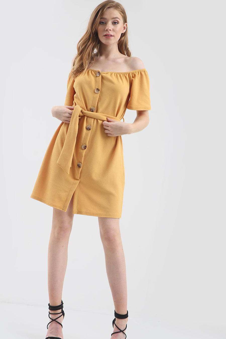Yellow Off Shoulder Button Through Mini Dress - bejealous-com