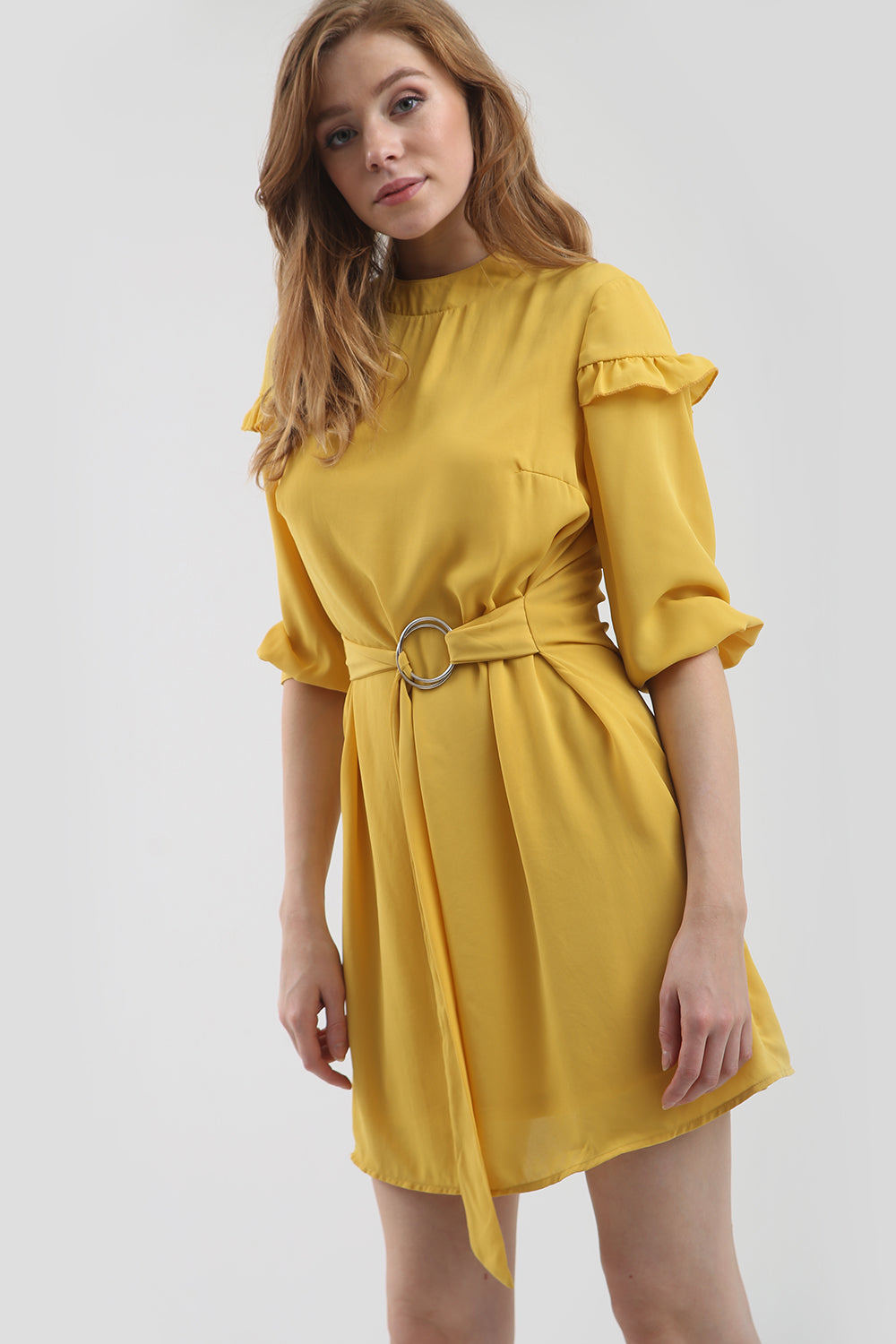 D Ring Belted Frilly Mini Shift Dress - bejealous-com
