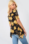 Cold Shoulder Floral Print Dip Hem Top - bejealous-com
