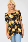 Cold Shoulder Floral Print Hanky Hem Top - bejealous-com