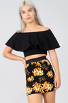 High Waisted Floral Print Bodycon Mini Skirt - bejealous-com