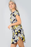 Floral Print Curved Hem Turn up Sleeve Tshirt Dress - bejealous-com