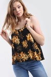Strappy Gold Floral Print Black Swing Top