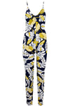 Strappy Blue Tropical Print Slim Leg Lycra Jumpsuit - bejealous-com