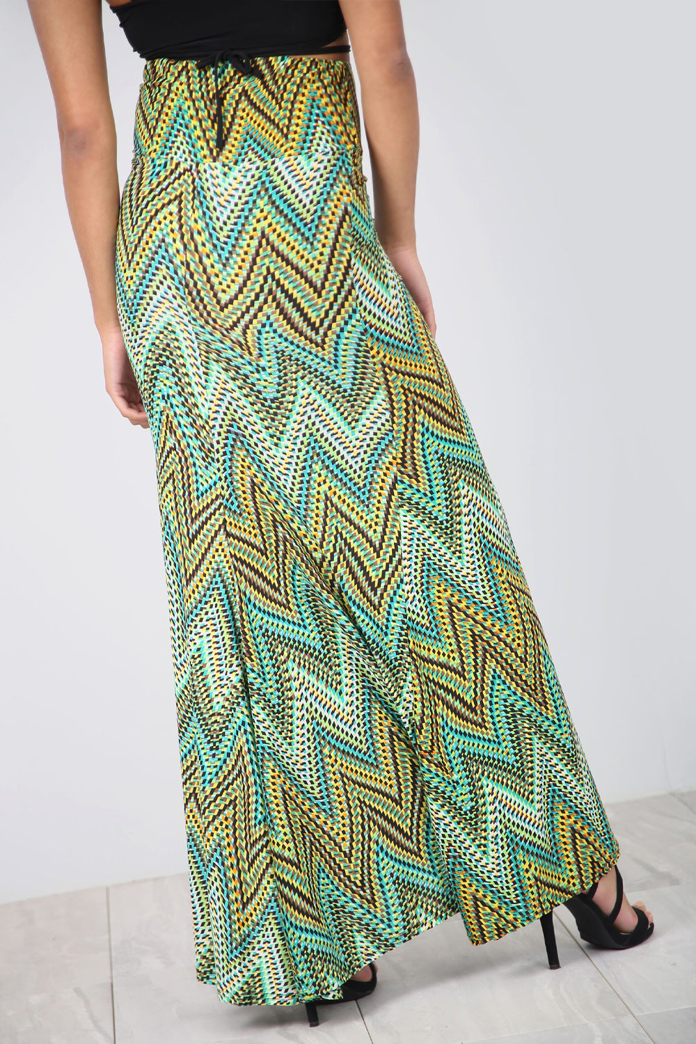 High Waist Green Aztec Print Maxi Skirt