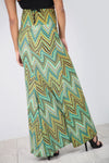 High Waist Green Aztec Print Maxi Skirt - bejealous-com