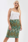 High Waisted Zig Zag Print Midi Tube Skirt - bejealous-com