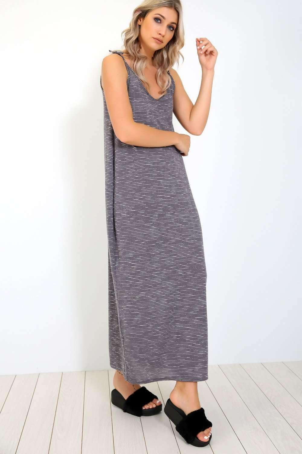 Amelia Navy Marl Knit Oversized Maxi Dress - bejealous-com