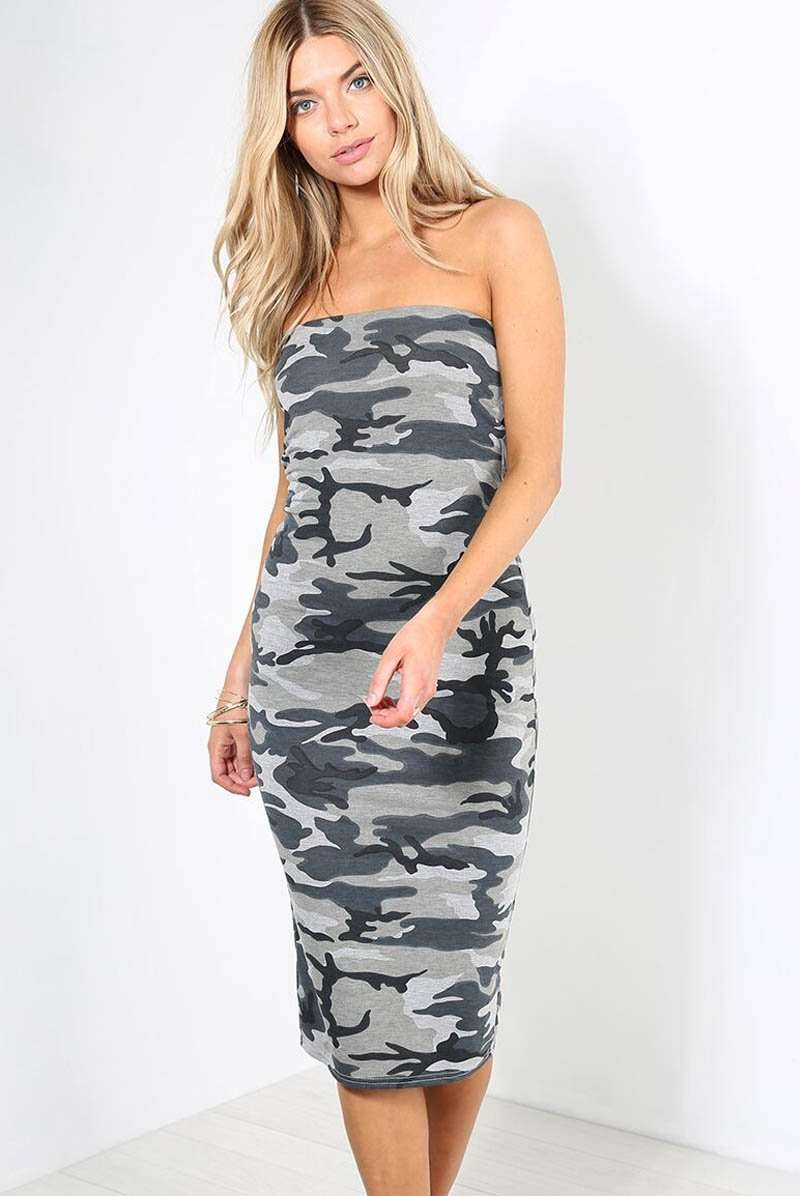 Bandeau Army Camo Print Midi Bodycon Dress