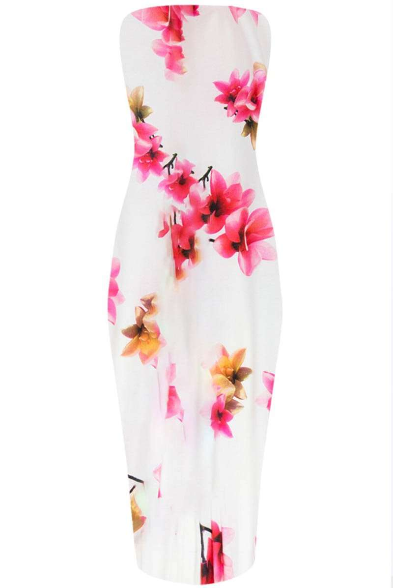 Bandeau Multicolour Floral Print Midi Bodycon Dress - bejealous-com