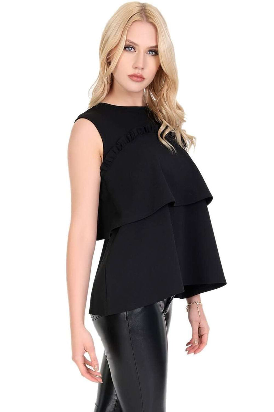 Black Crepe Sleeveless Tiered Frill Vest Top