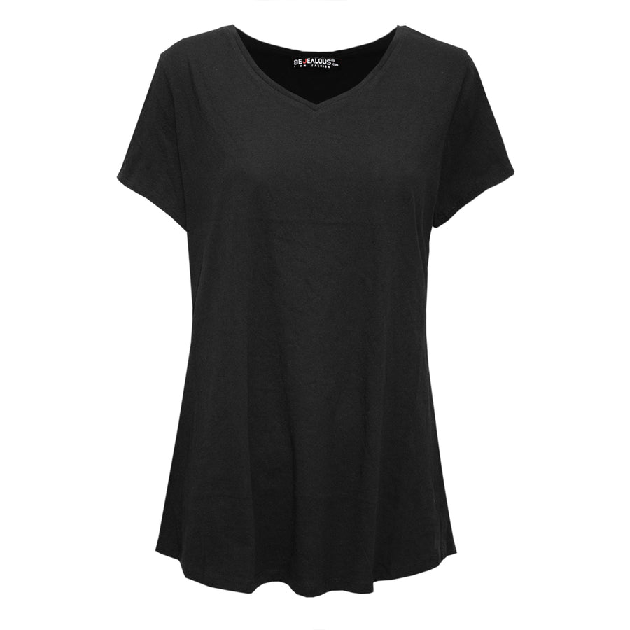 Mia V Neck Basic Casual Short Sleeve T Shirt