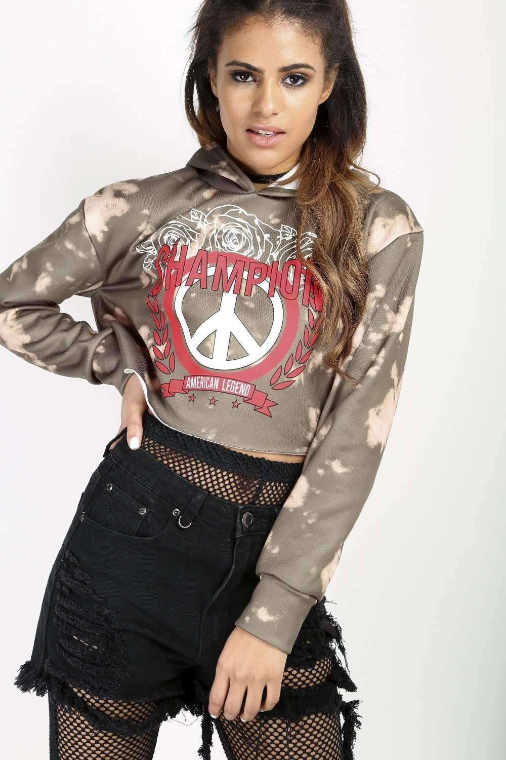 Adellia Bleached Graphic Print Cropped Sweatshirt - bejealous-com