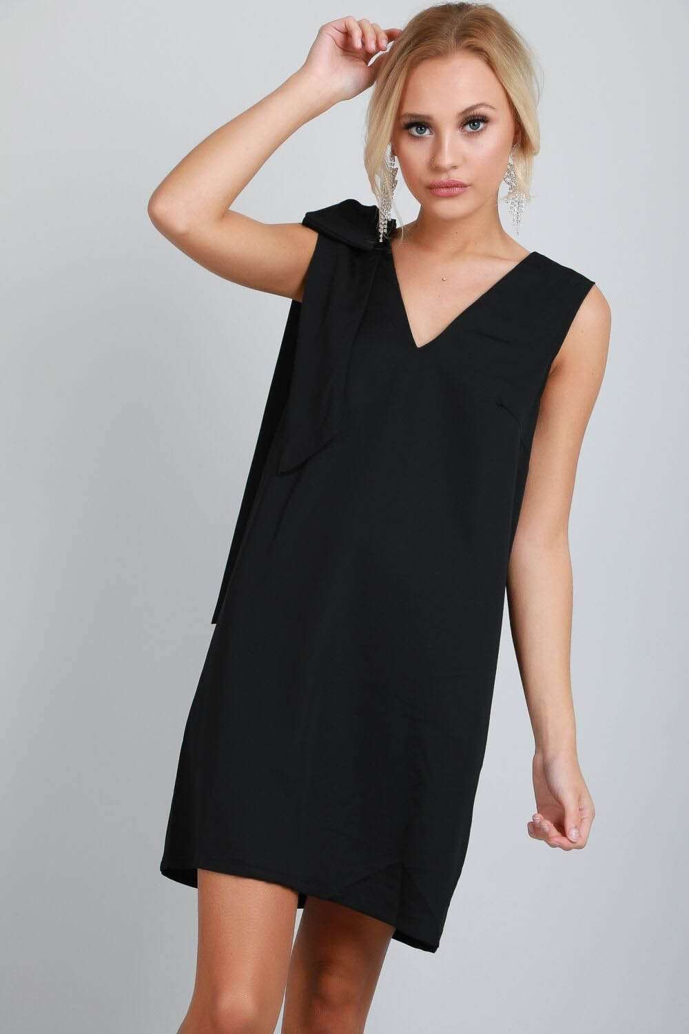 Bow Shoulder Black Sleeveless V Neck Shift Dress
