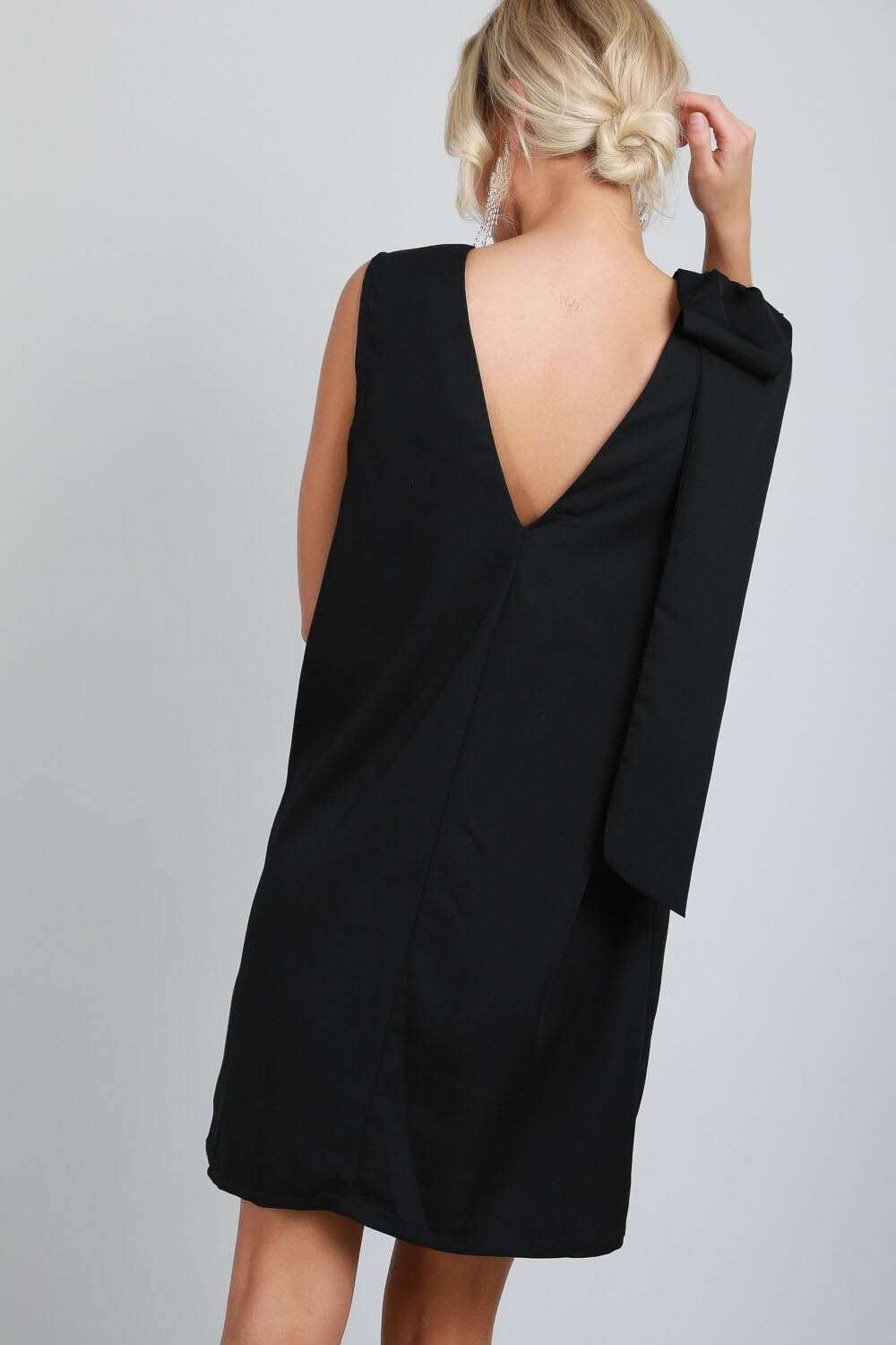 Bow Shoulder Black Sleeveless V Neck Shift Dress - bejealous-com