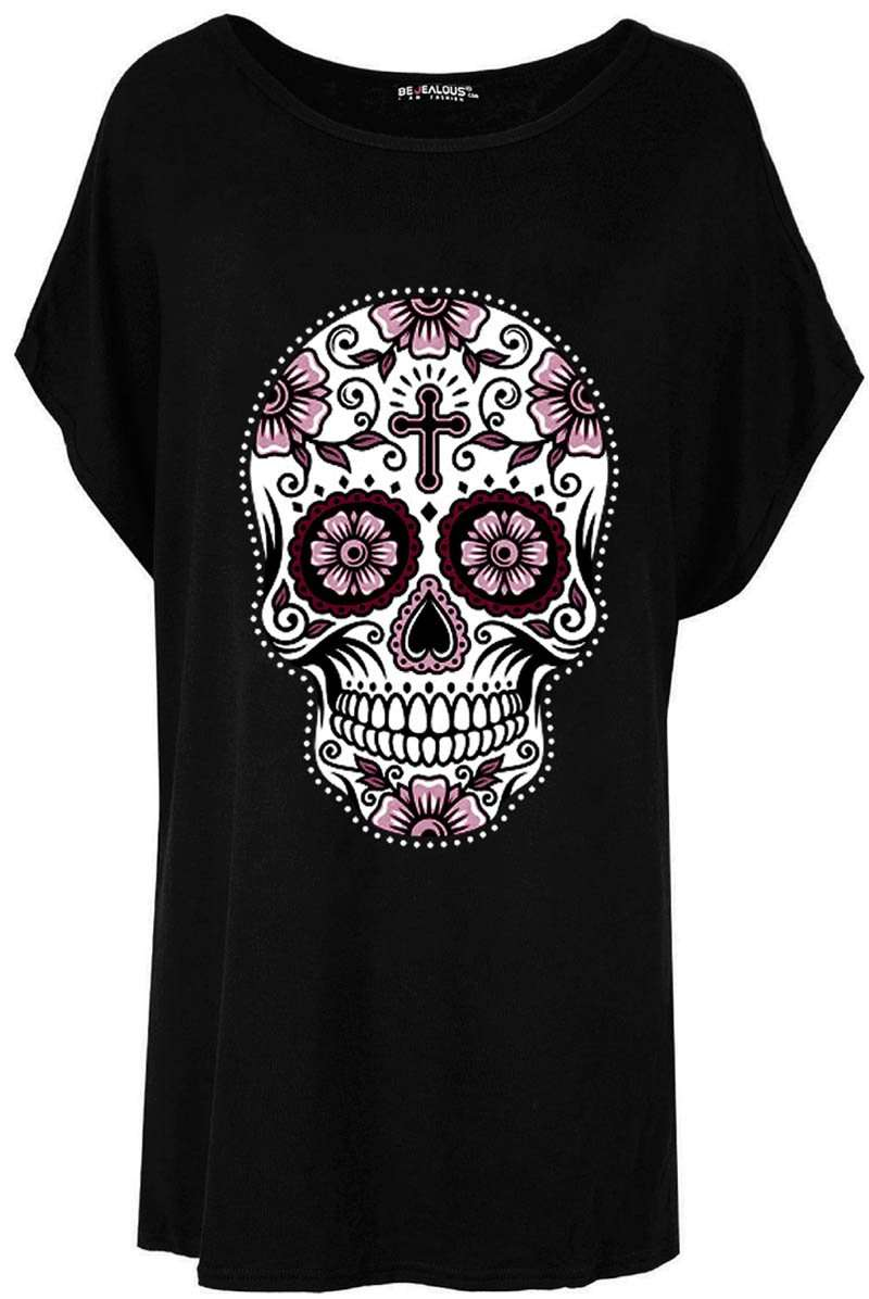 Candy Skull Print Oversized Batwing Jersey Tshirt