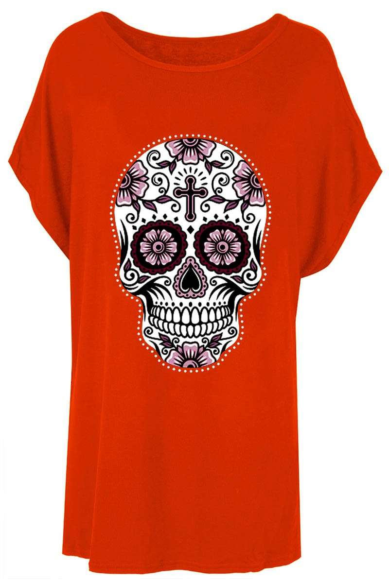 Candy Skull Print Oversized Batwing Jersey Tshirt - bejealous-com