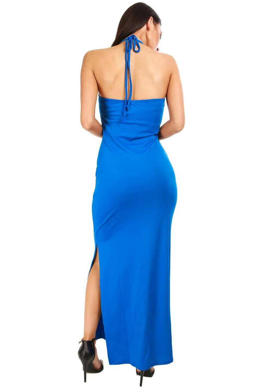 Lorna Halterneck Split Leg Maxi Dress - bejealous-com