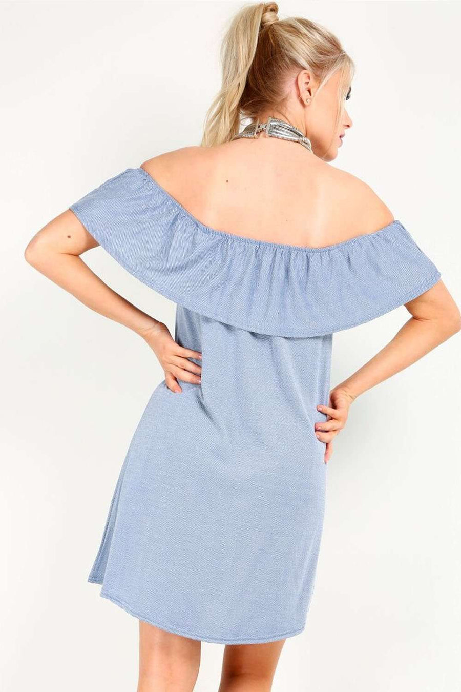 Marlia Off Shoulder Frill Denim Mini Dress - bejealous-com