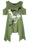 Cold Shoulder Butterfly Print Hanky Hem Top - bejealous-com