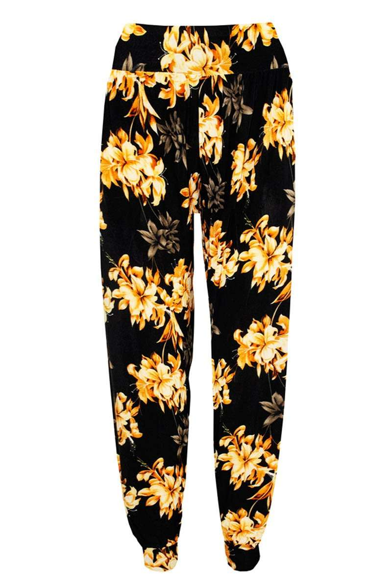 High Waist Tropical Print Harem Cuffed Leg Trousers
