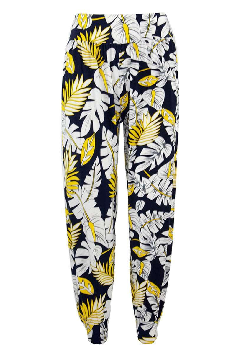 High Waist Tropical Print Harem Cuffed Leg Trousers - bejealous-com
