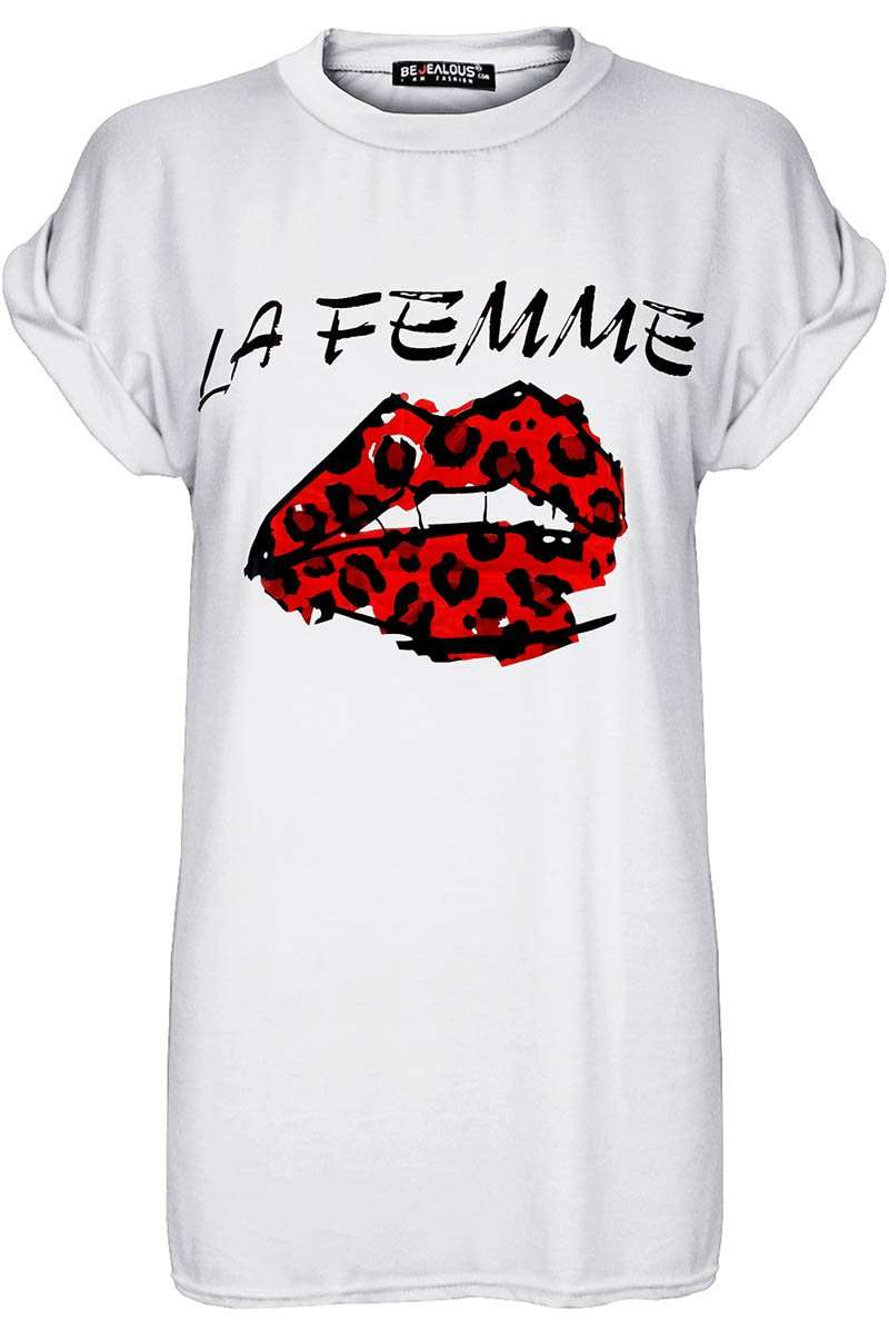 La Femme Graphic Print Roll Sleeve Basic Tshirt
