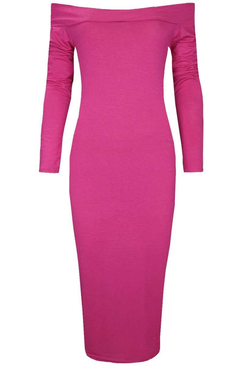 Long Sleeve Black Bardot Midi Bodyon Dress - bejealous-com