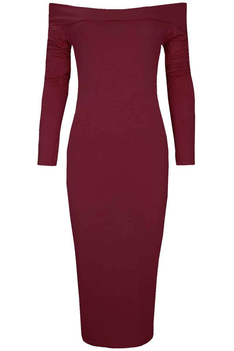 Long Sleeve Black Bardot Midi Bodyon Dress