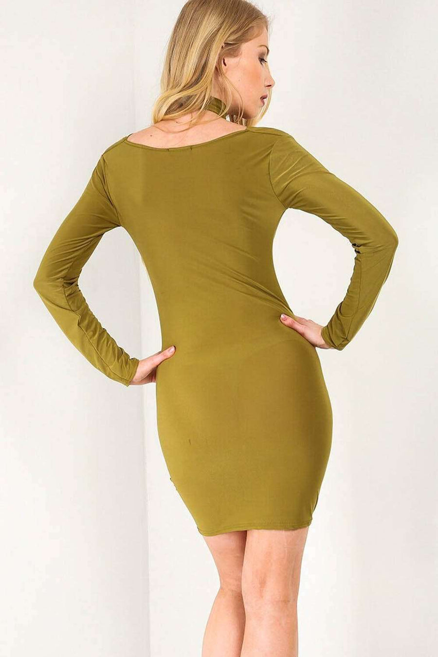 Long Sleeve Choker Neck Bodycon Mini Dress