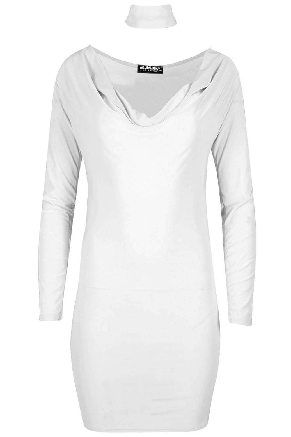 Long Sleeve Choker Neck Bodycon Mini Dress - bejealous-com