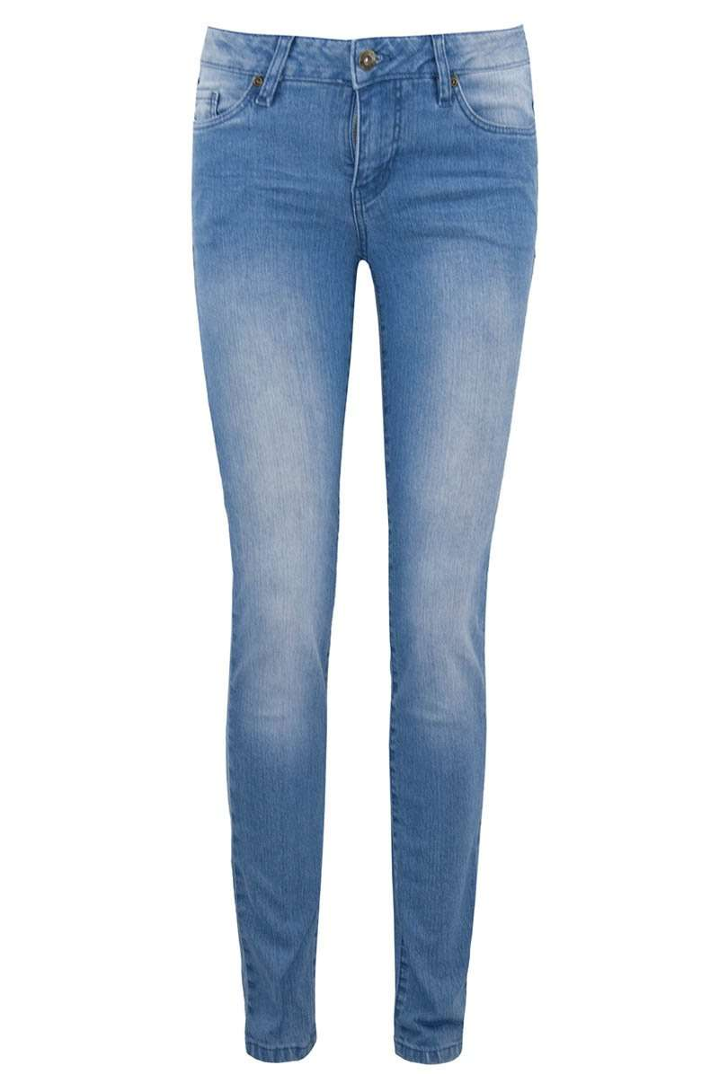 Mid Rise Denim Washed Blue Skinny Jeans - bejealous-com