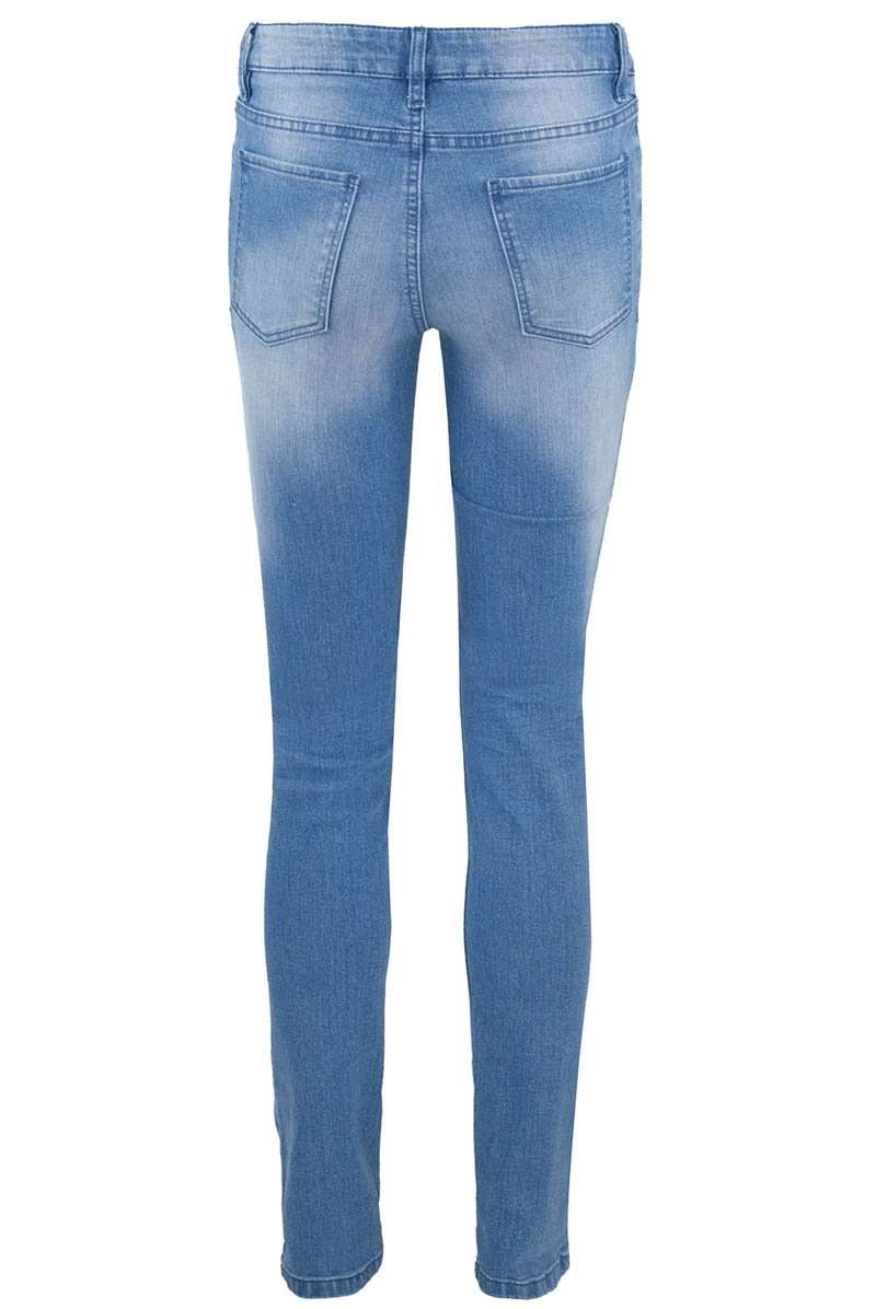Mid Rise Denim Washed Blue Skinny Jeans