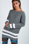 Off Shoulder Grey Striped Baggy Jumper - bejealous-com