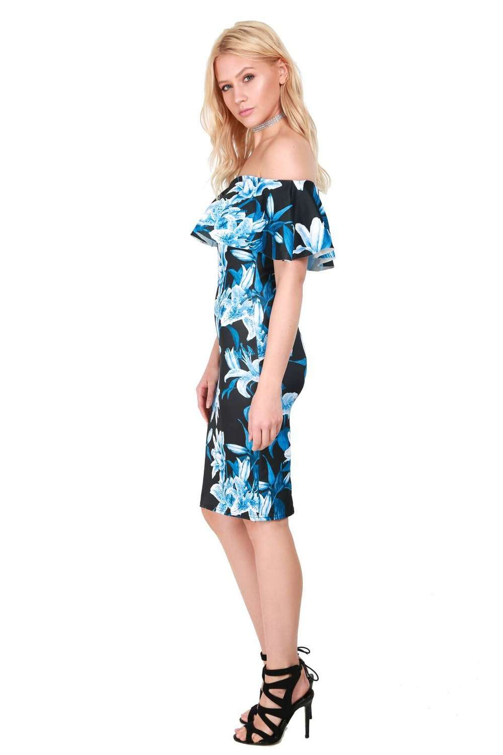 Off Shoulder Blue Floral Midi Bodycon Dress