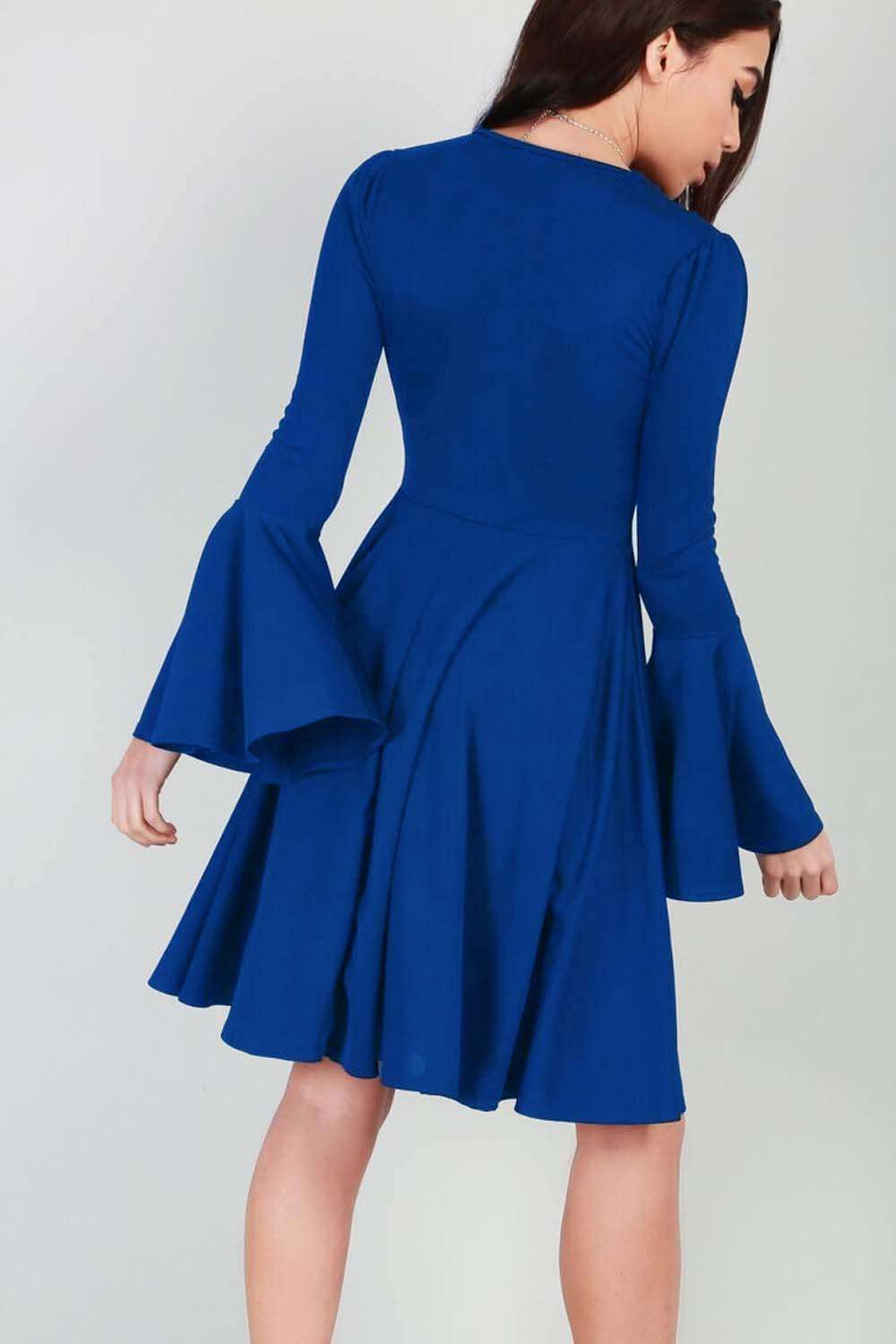 Abbie Bell Sleeve Midi Skater Dress - bejealous-com
