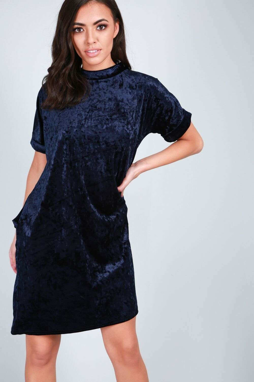 Abbie Crushed Velvet Oversized Tshirt Dress - bejealous-com