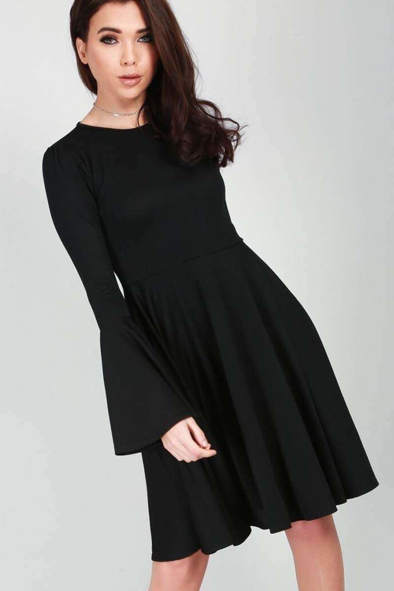 Abbie Frill Sleeve Black Midi Swing Dress - bejealous-com